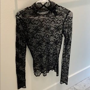 Express women's black lace top